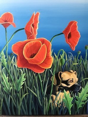Monica Puryear: 'zoey and the giant poppies', 2019 Oil Painting, Animals. Artist Description: This depicts my dog, Zoey, and some rather large poppies that bloom in this area. ...