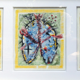 Monica Casanova: 'ENAMORAMIENTO VISCERAL', 2014 Acrylic Painting, Figurative. Artist Description:  Two hearts and a lung. The body suffers when the person is in love. ...