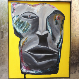 Monica Casanova: 'MitologIas ContemporAneas IV', 2014 Acrylic Painting, Figurative. Artist Description:  From a series of mask using different techniques. These one is made of acrylic and encaustic ...