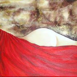 Monika Rudzinski: 'Red Drape', 2007 Acrylic Painting, Nudes. Artist Description:  Nude woman wrapped in red drapery lying down with back towards viewer. Textured background, brown, gold, cream.Acrylic on canvas.  ...