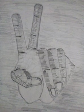 Alexander Kwesi: 'a hand with a sixth finger', 2018 Pencil Drawing, Body. Artist Description: A representation of a hand doing the peace sign with a sixth finger...