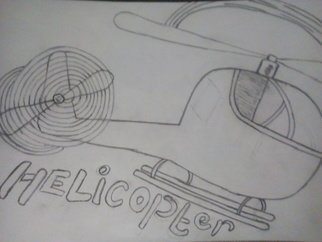 Alexander Kwesi: 'a helicopter', 2018 Pencil Drawing, Aviation. A representation of a helicopter with the word helicopter...
