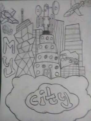 Alexander Kwesi: 'my city in a cloud', 2018 Pencil Drawing, Cartoon. Artist Description: A cartoonist representation of what my city would look like in a cloud...