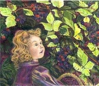 Susan Moore: 'Blackberry Elf', 2004 Giclee, Children. Colored pencil illustration of a young girl picking blackberries.          There is a little green elf peeking out from the berry bush. Giclee prints of various sizes from 8 x 7 to 40 x 35 starting at $27. 00 US and up. Go to URL ````````````````````````````
