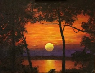 Michael Morbitzer: 'Sunset on the Suwannee ', 2016 Acrylic Painting, Abstract Landscape. Artist Description:  Great color ...