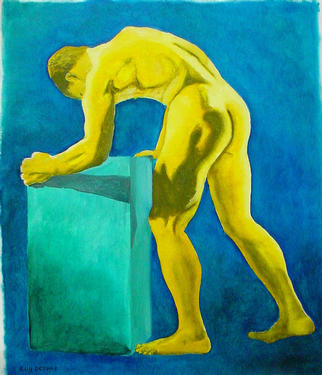 Erotic Oil Painting by Guy Octaaf Moreaux Title: Golden Man, created in 2003