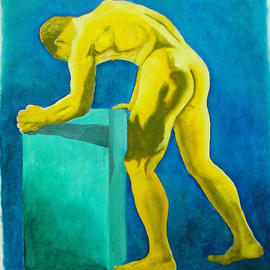 Guy Octaaf Moreaux: 'Golden Man', 2003 Oil Painting, Erotic. Artist Description: Oilpaint on canvas, easy to roll up and send, it is in Canada right now. ...