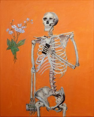 Guy Octaaf Moreaux: 'Vanitas', 2020 Oil Painting, Still Life. Acrylic and oil paint on stretched canvas.  Vanitas, an allegorical representation of the vacuity of human passions and activities the smart phone, money and forget- me- not flowers. ...