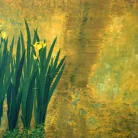 Guy Octaaf Moreaux Artwork Wild Iris, 2002 Oil Painting, Floral