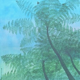 Guy Octaaf Moreaux: 'day s end', 2020 Acrylic Painting, Nature. Artist Description: Along a waterfall in the Mount Kenya park, these beautiful fern trees grow.Acrylic paint on stretched canvas. ...
