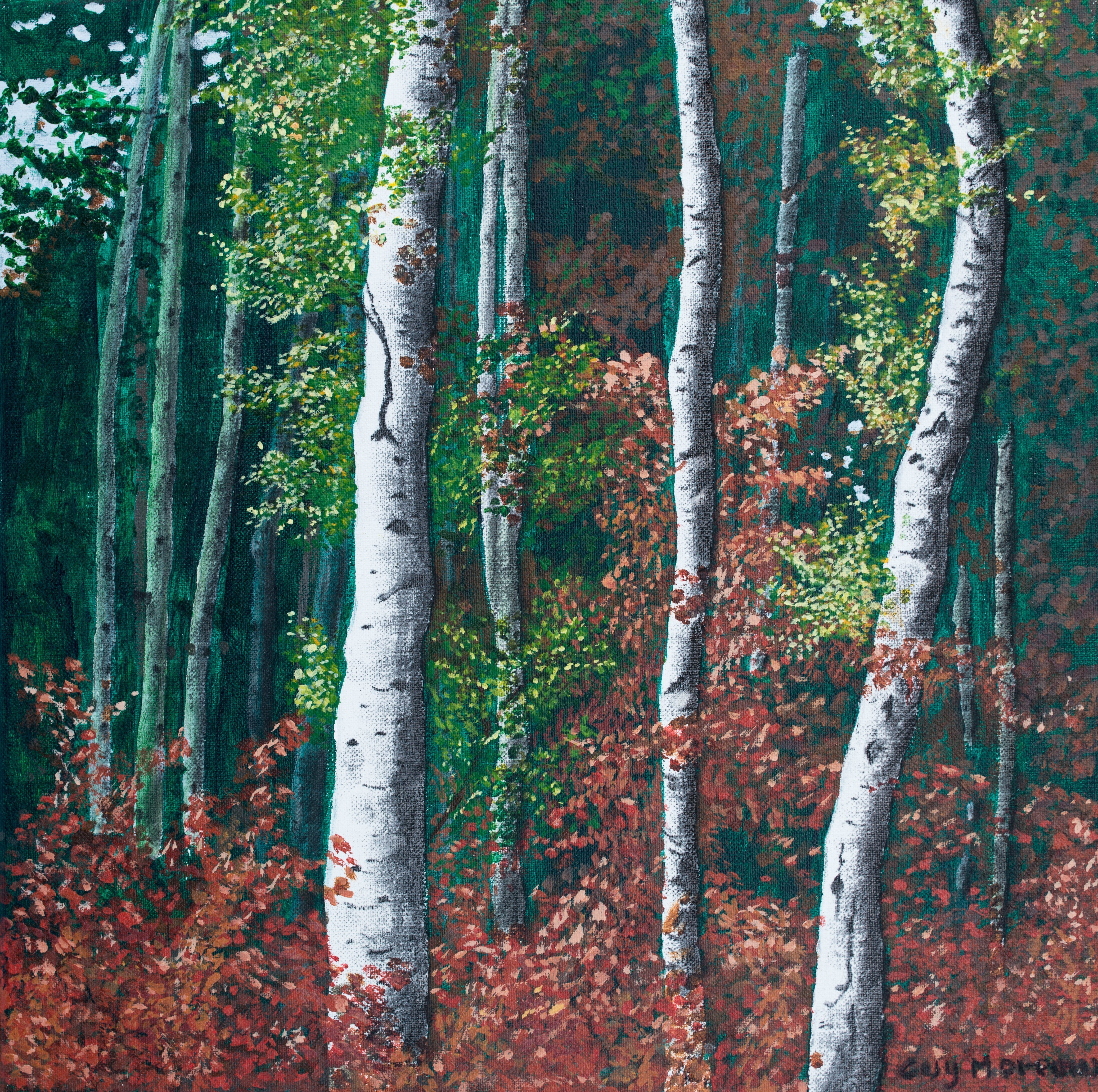 Guy Octaaf Moreaux: 'early autumn in limburg', 2017 Acrylic Painting, nature. Acrylic and carbon on linen.Nature keeps inspiring me.  Limburg province has a sand- rich soil which gives a variety of trees, pines are mixed in with others. ...
