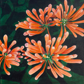 Guy Octaaf Moreaux: 'flame vine', 2019 Oil Painting, Nature. Artist Description: Flame vine , also called Orange trumpets, grows well in Kenya.  A stunning flower in my opinion.  Here is the bloom before the flowers actually open up.Painted on canvas. ...