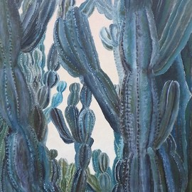 Guy Octaaf Moreaux: 'louises garden', 2019 Oil Painting, Nature. Artist Description: Louise has a beauiful garden in Nairobi.  The euphorbia candelabrum is an indigenous tree which grows to more than 15 meters in the savannah, a wonderful exotic tree for a cactus lover like me.  I just love the sculpturous qualities of it. ...