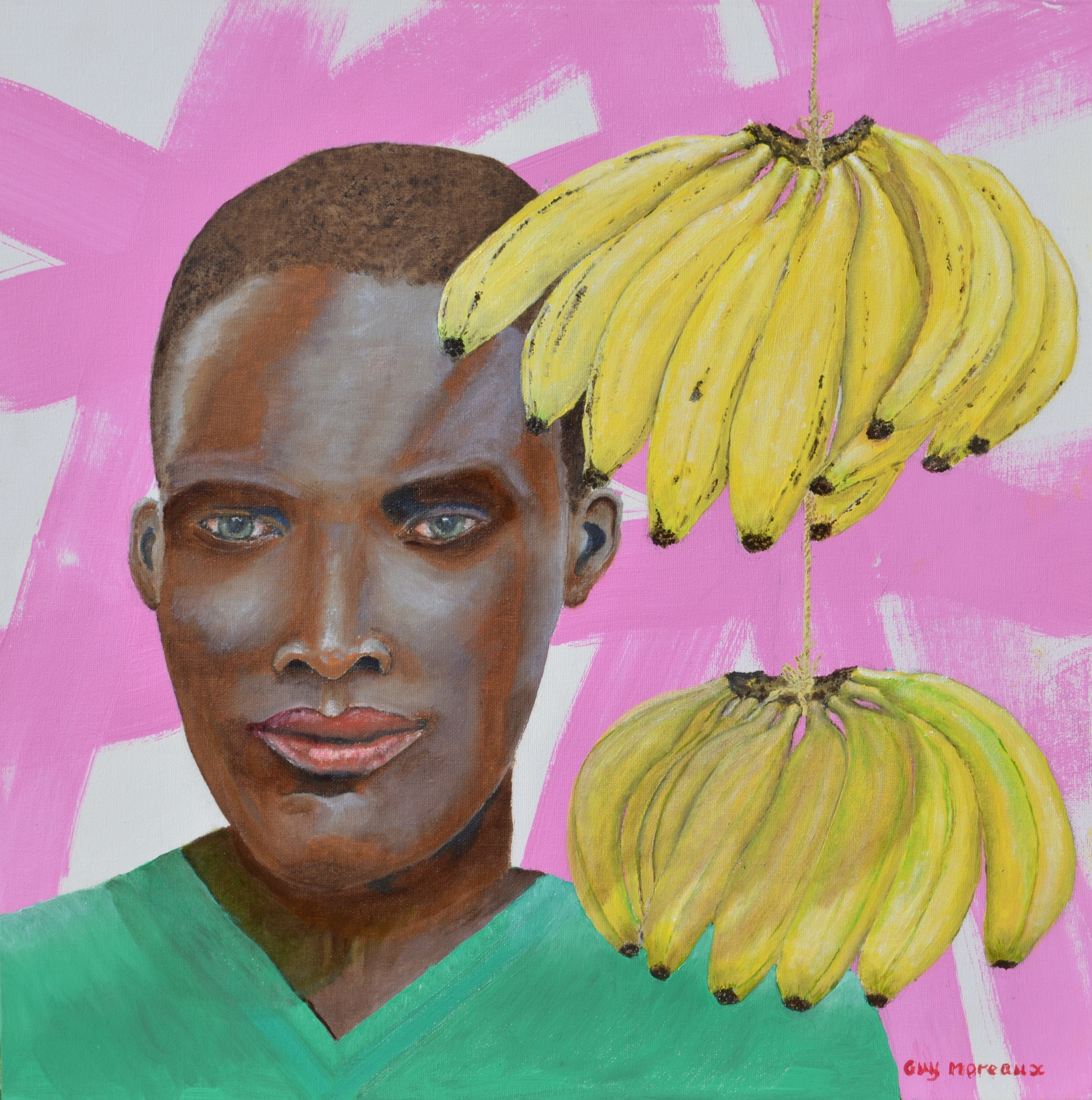 Guy Octaaf Moreaux: 'mary the banana lady', 2020 Oil Painting, Portrait. Bananas are sold along the streets and roads in Kenya, hung on a bit of string.  This beauty is selling bananas.Acrylic and oil paint on canvasboard. ...