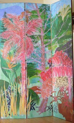 Guy Octaaf Moreaux: 'nairobi garden', 2020 Acrylic Painting, Nature. The screen is composed of three canvases of 40 cm x 200 cm each. ...