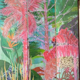 Guy Octaaf Moreaux: 'nairobi garden', 2020 Acrylic Painting, Nature. Artist Description: The screen is composed of three canvases of 40 cm x 200 cm each. ...