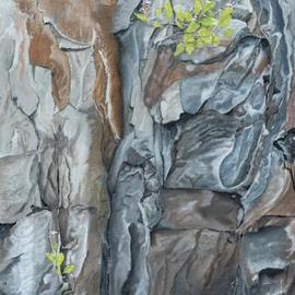 Guy Octaaf Moreaux: 'rocky wall in the rift valley', 2019 Oil Painting, Nature. Artist Description: Oilpaint on canvas.  The kenyan rift valley is formed as two tectonic plates, Somali plate and the Nubian plate, are splitting the African plate.  It seems so beautiful to me, just the shapes and colors of it. . . . ...