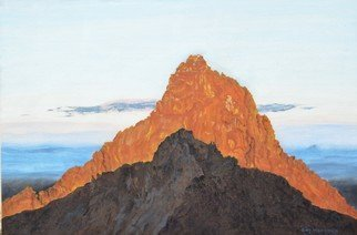 Guy Octaaf Moreaux: 'sunrise on mount kenya', 2020 Oil Painting, Nature. 6. 30 am, the sun rose above the horizon 5 minutes ago.  Looking west you see the highest peak of Mount Kenya, Kirinyaga in Gikuyu.  For the Gikuyu people it is a holy mountain, the abode of Ngai, the supreme creator.This view is seen from Point Lenata, 4985 mts ...