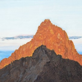 Guy Octaaf Moreaux: 'sunrise on mount kenya', 2020 Oil Painting, Nature. Artist Description: 6. 30 am, the sun rose above the horizon 5 minutes ago.  Looking west you see the highest peak of Mount Kenya, Kirinyaga in Gikuyu.  For the Gikuyu people it is a holy mountain, the abode of Ngai, the supreme creator.This view is seen from Point Lenata, ...