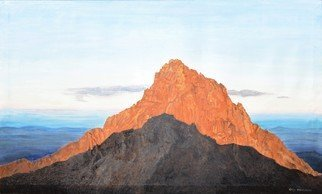 Guy Octaaf Moreaux: 'sunrise on mount kenya 2', 2020 Oil Painting, Nature. 6. 30 am, the sun rose above the horizon 5 minutes ago. Looking west you see the highest peak of Mount Kenya, Kirinyaga in Gikuyu. For the Gikuyu people it is a holy mountain, the abode of Ngai, the supreme creator.This view is seen from Point Lenata, 4985 mts ...