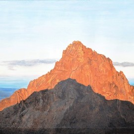 Guy Octaaf Moreaux: 'sunrise on mount kenya 2', 2020 Oil Painting, Nature. Artist Description: 6. 30 am, the sun rose above the horizon 5 minutes ago.  Looking west you see the highest peak of Mount Kenya, Kirinyaga in Gikuyu.  For the Gikuyu people it is a holy mountain, the abode of Ngai, the supreme creator.This view is seen from Point Lenata, ...