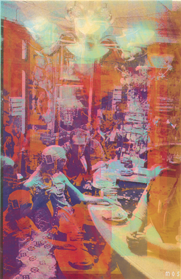 Collage by Mos Riera titled: At the bar, created in 2001