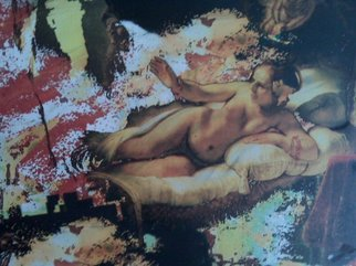 Collage by Mos Riera titled: Danae after Rembrandt, created in 2009