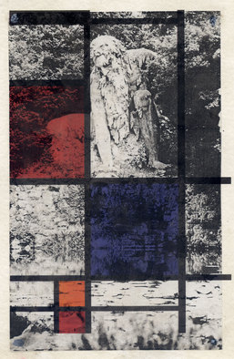 Collage by Mos Riera titled: In the garden, created in 1997