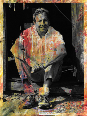 Collage by Mos Riera titled: Robert Rauschenberg, created in 2008