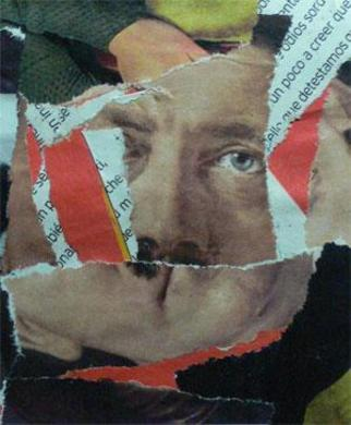 Collage by Mos Riera titled: Worse than to kiss Hitler, created in 2006