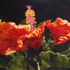 Sharon Fox Mould Artwork Hibiscus Face to the Sun, 2010 Acrylic Painting, Floral