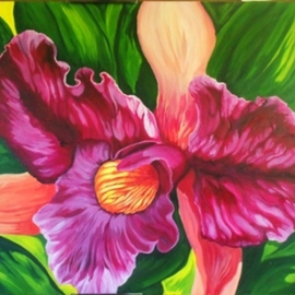 Sharon Fox Mould Artwork Purple Orchid, 2013 Acrylic Painting, Floral