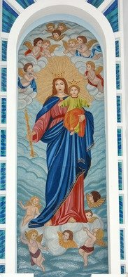 Mosaic by Diana  Donici titled: Virgin Mary Queen with Baby Jesus, created in 2012