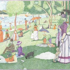 Christopher Rowan: 'afternoon in the park', 2012 Marker Drawing, Surrealism. Artist Description: Experimentation and reimagining of Seurat s La Grand Jatte but merged with Lovecraft s view of cosmic antagonists. There are no connected lines in the picture and it was done as close to scale as I could accomplish. Done in water color markers via stippling pointillism style and ...