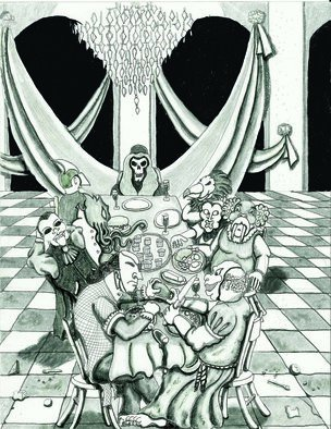Christopher Rowan: 'bats in the belfry', 2011 Graphite Drawing, Satire. Artist Description: Illustration work for Peryton Publishing. All rights owned by them. Used with permission as an example of work. ...