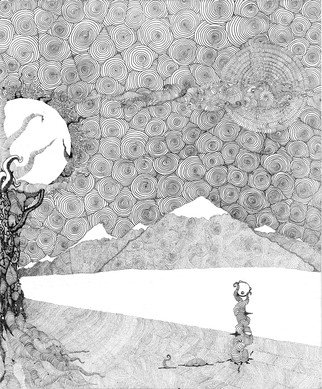 Christopher Rowan Artwork chaos terrain, 2012 Ink Drawing, Surrealism