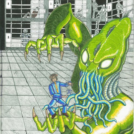 Christopher Rowan: 'meat puppet', 2012 Marker Drawing, Surrealism. Artist Description: Huge HP Lovecraft fan and much of my work is inspired by his concept of galactic evil just beyond the realm of our conscious world. My work tends to be more on the whimsically insane rather then purely horror. ...