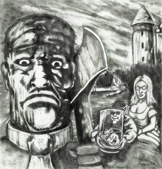 Christopher Rowan: 'what a modern man', 2013 Graphite Drawing, Fantasy. Artist Description: Also a huge fan of old school movie posters and this was a re- imagining of the Curse of Frankenstein but with some modern elements thrown in. ...