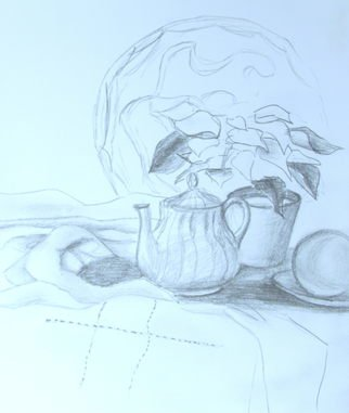 Still Life Pencil Drawing by Margaret Dawson Title: Tea Time, created in 2011