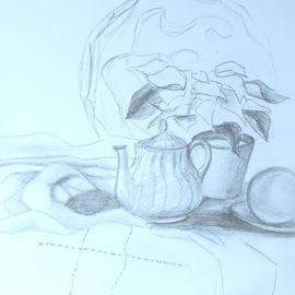 Margaret Dawson Artwork Tea Time, 2011 Pencil Drawing, Still Life