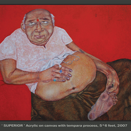 Mrinal Dey: 'superior', 2008 Acrylic Painting, Figurative. Artist Description:  this is one of my recent pianting with my own concept. which is done by acrylic on canvas with tempara process. ...