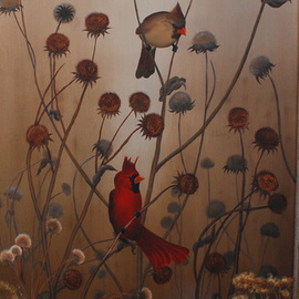 Mike Ross Artwork Cardinals, 2012 Oil Painting, Birds