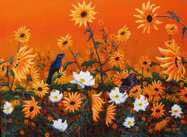 Mike Ross  'Sunflowers And Pickly Poppies', created in 2014, Original Painting Oil.