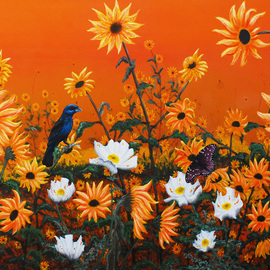Mike Ross Artwork Sunflowers and Pickly poppies, 2014 Oil Painting, Birds