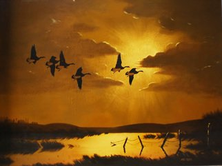 Mike Ross Artwork Time To Take A Break, 2012 Oil Painting, Birds