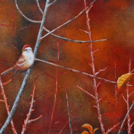 Mike Ross Artwork Tree Sparrow, 2015 Oil Painting, Birds