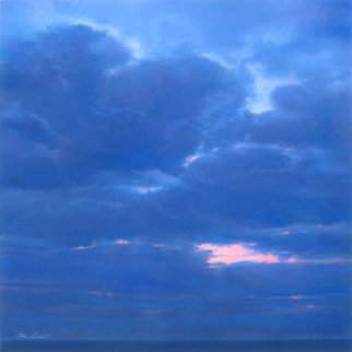 Steven Gordon: 'blue sky', 2016 Pastel, Landscape. Dark blue sky above Lake Michigan just after sunset...
