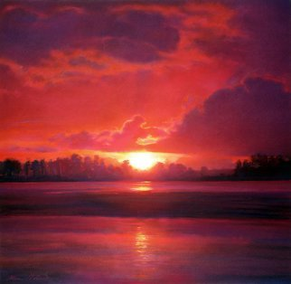 Steven Gordon: 'napa river red', 2010 , Landscape. Original was in pastel. Scene of intense RED sunset over The Napa River in the southern Carneros part of the valley. ...