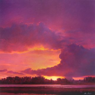 Steven Gordon: 'river walk violet sky', 2016 Pastel, Landscape. Beautiful Sunset along the Napa River in the south part of Napa Valley...