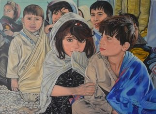 Marius Ghita: 'Refugee camp', 2018 Tempera Painting, Children. The painting is enhanced in water colors on canvas cotton and coated with two layers of varnish.  Mounted on stretcher frame. ...